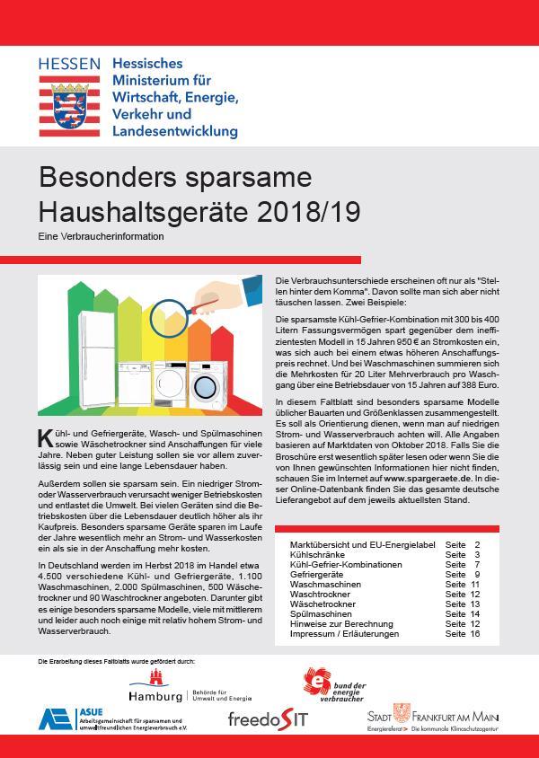 Besonders sparsame Haushaltsgeräte 2018/2019