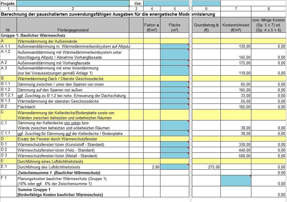 Kommunalrichtlinie - Kostenberechnungstabelle